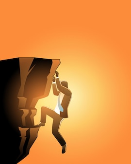 Illustration of business concept. businessman climb up cliff on sunset time