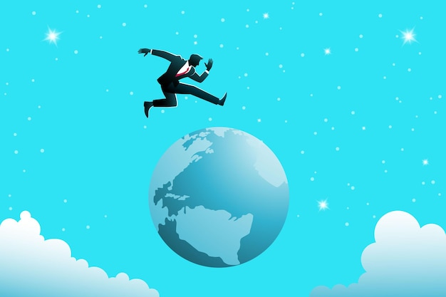 Illustration of business concept, a businessman jumping over the earth