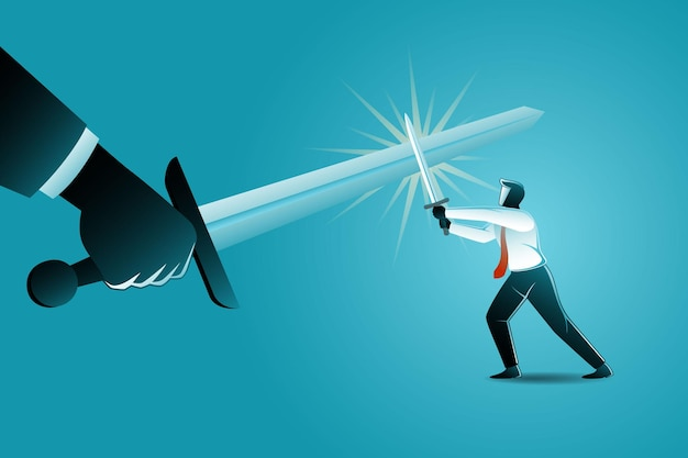Illustration of business concept, conflict businessman with giant hand using sword