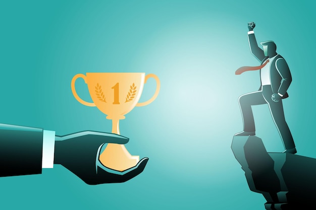 Illustration of business concept, giant hands give trophy to a businessman