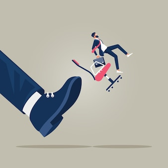 Illustration of business concept small businessman kicked out by big foot