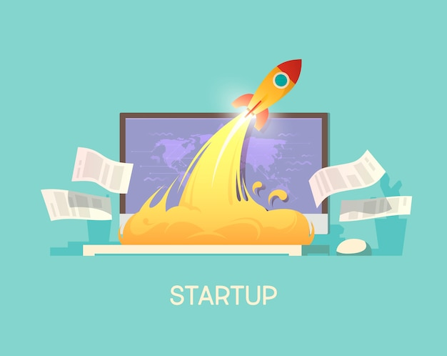 Illustration. business concept. successful launch of startup