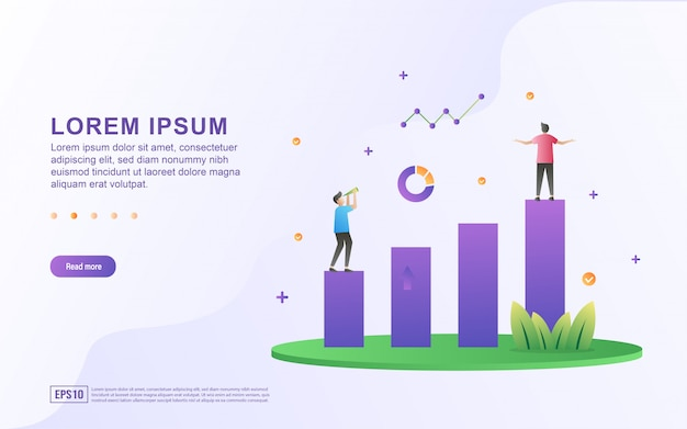 Illustration of business growth and profit with chart and graph icon