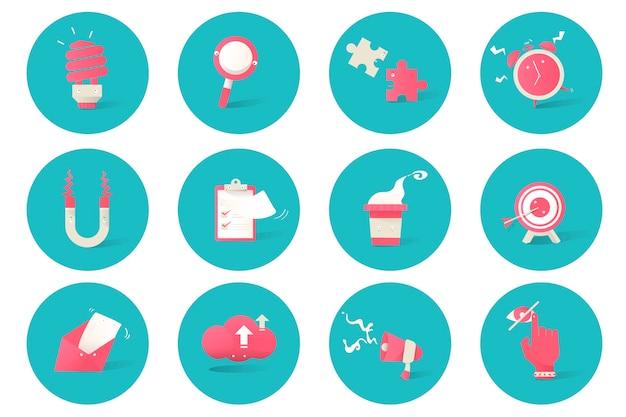 Illustration of business icons set on blue background
