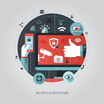 Illustration of    business illustration with security composition