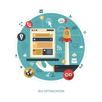 Illustration of    business illustration with seo optimization composition Premium Vector