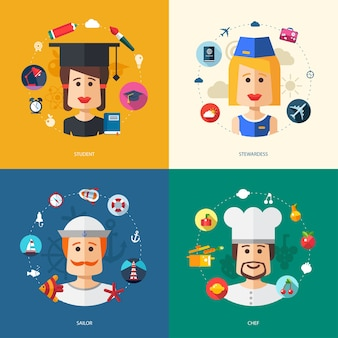 Illustration of    business illustrations with people professions