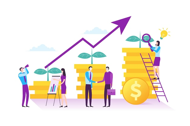 Illustration of business investment and financial management concept in modern flat design