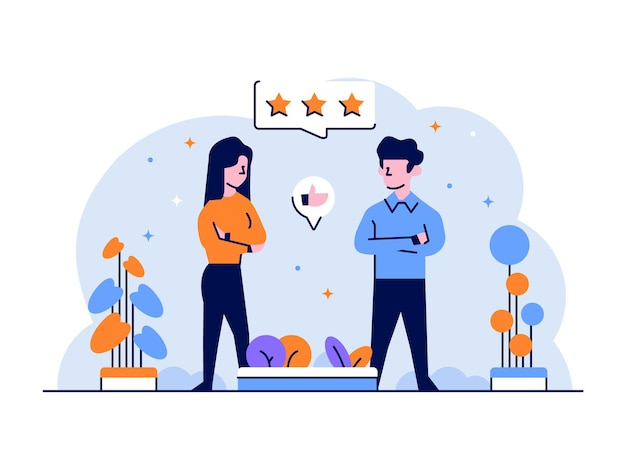Illustration business man and woman like dislike love starred work flat and outline design style