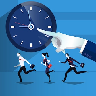 Illustration of business people catching up the time