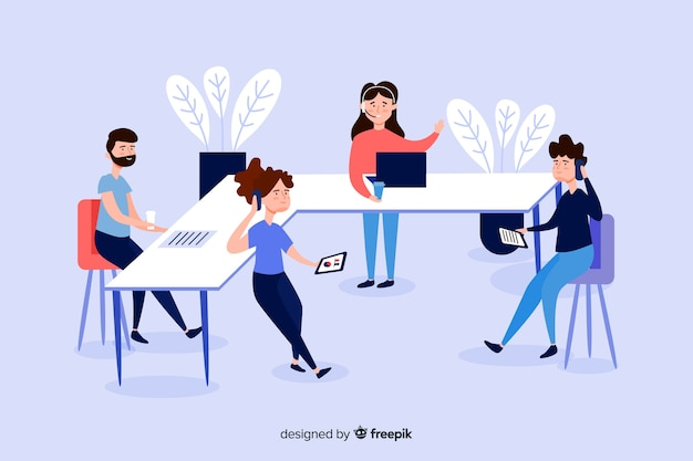 Illustration of business people at desks