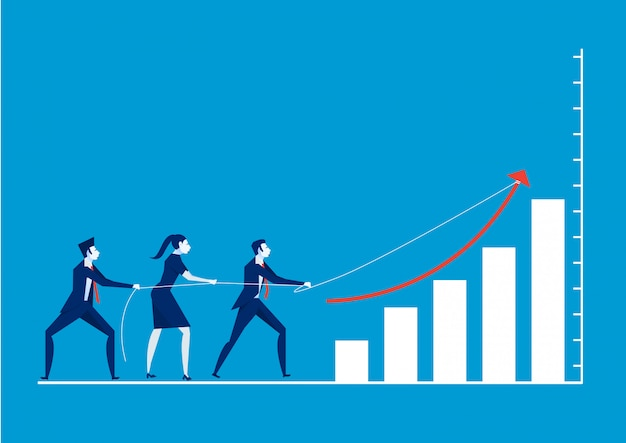 Illustration of business people pulling arrow on bar graph
