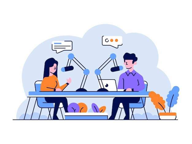 Illustration business people radio broadcast podcast