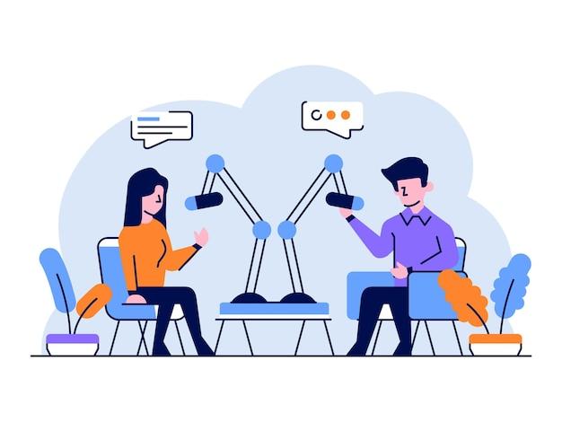 Illustration business people radio broadcast
