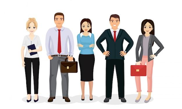 イラストビジネス人チーム。幸せと笑顔のビジネスマンとビジネスウーマンが漫画のスタイルで一緒に立っています。