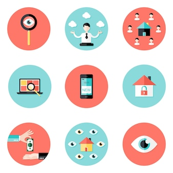 Illustration of business real estate circle flat icons set