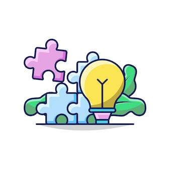 Illustration of business solution with bulb and jigsaw puzzle