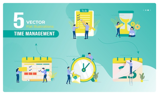 Illustration of business and time management on collection set