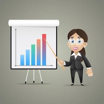 イラスト、フリップチャートのビジネスウーマンポイント、フォーマットeps 10