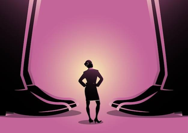 An illustration of a business woman standing between giant men's legs. authority, gender issue concept