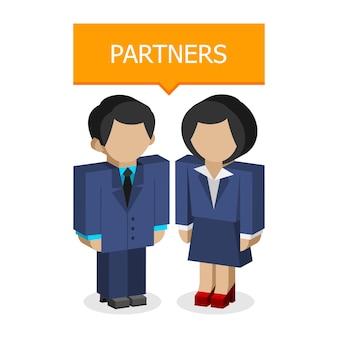 일러스트레이션, 사업가 및 비즈니스 여성 파트너, 형식 eps 10