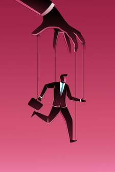 Illustration of businessman being controlled by puppet master