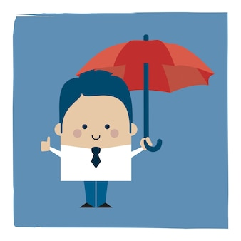 Illustration of a businessman businessman holding an umbrella