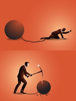 Illustration of businessman crawling with iron ball chained in his feet than he try to destroy it with pickaxe