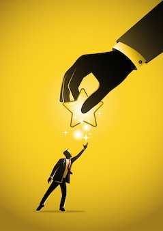 An illustration of a businessman giving star in hand. feedback concept
