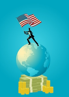 Illustration of a businessman holding the flag of usa
