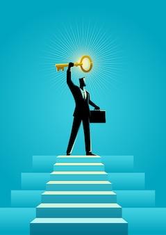 Illustration of a businessman holding a golden key