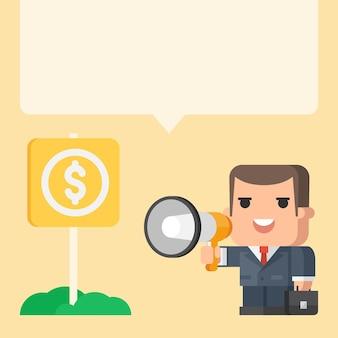 Illustration, businessman holding megaphone concept, format eps 10