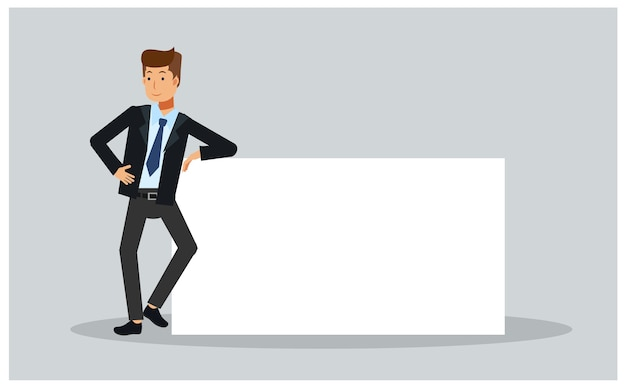 Illustration of businessman is leaning on a blank poster.