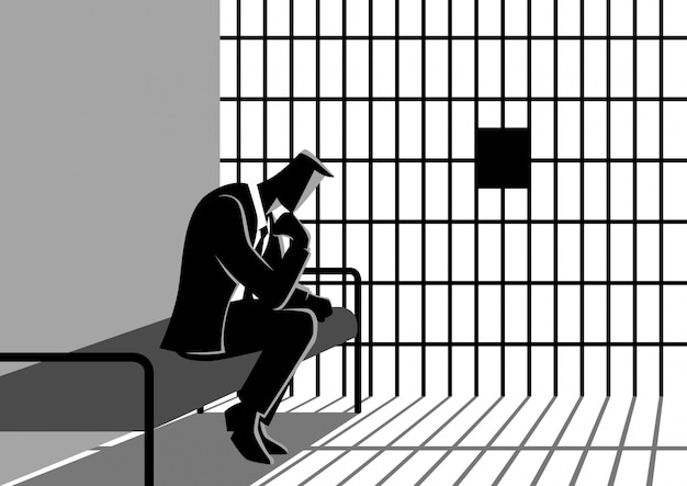 Illustration of a businessman in jail
