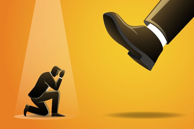 Illustration of businessman kneel down under big foot