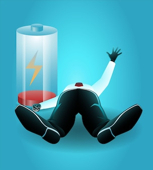 Illustration of businessman lying down beside low battery indicator while raise hand ask for help