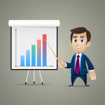 イラスト、フリップチャートのビジネスマンポイント、フォーマットeps 10
