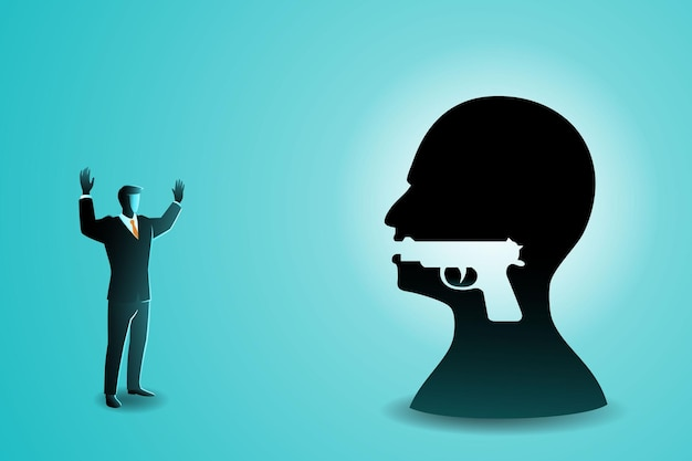 Illustration of businessman raised both hands in front of big human head