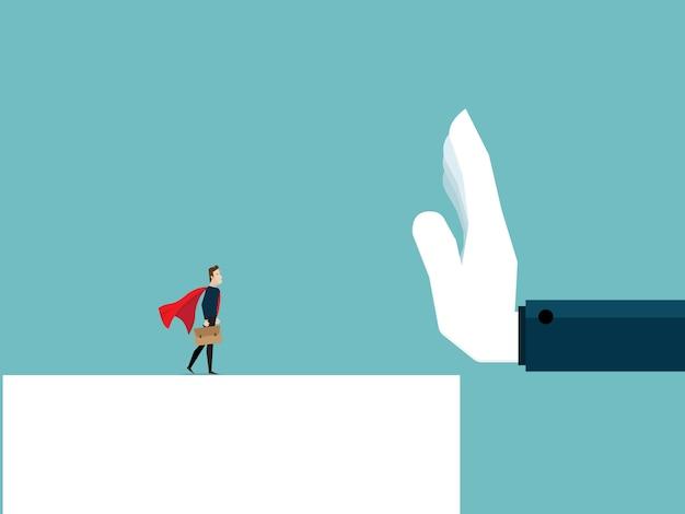 Illustration of businessman refuse by bighand vector cartoon