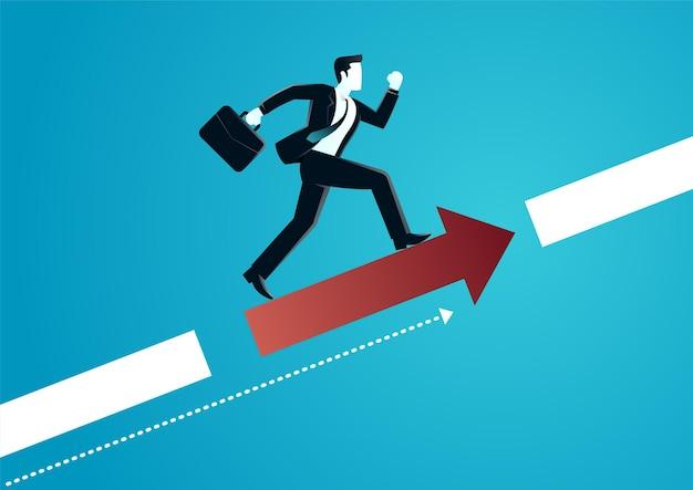 Illustration of a businessman running on arrow to get target. describe target business.