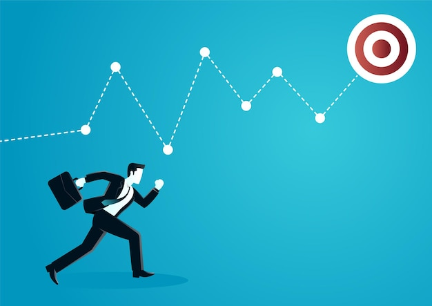 Illustration of a businessman running following of graphic chart.