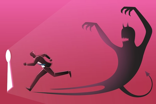 Illustration of a businessman running toward keyhole pursued by his own evil shadow