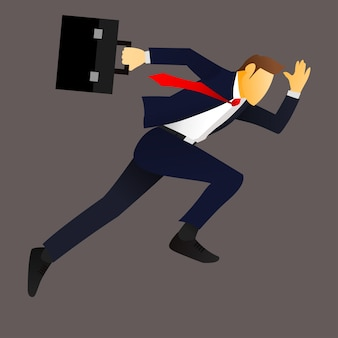 Illustration of a businessman running with briefcase