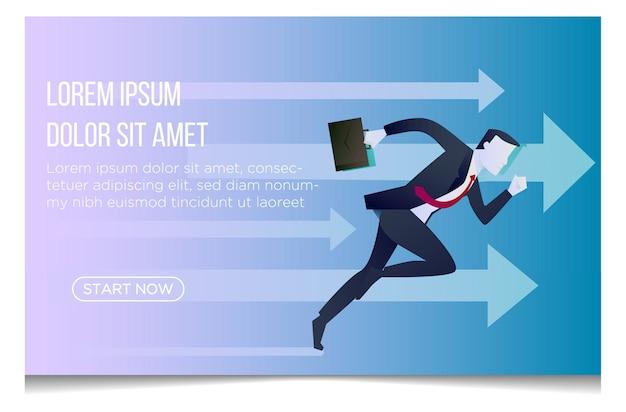 Illustration of businessman running