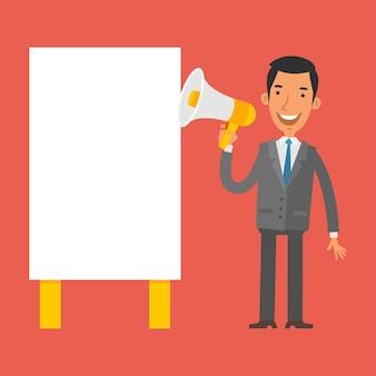 Illustration, businessman shouting into megaphone, format eps 10