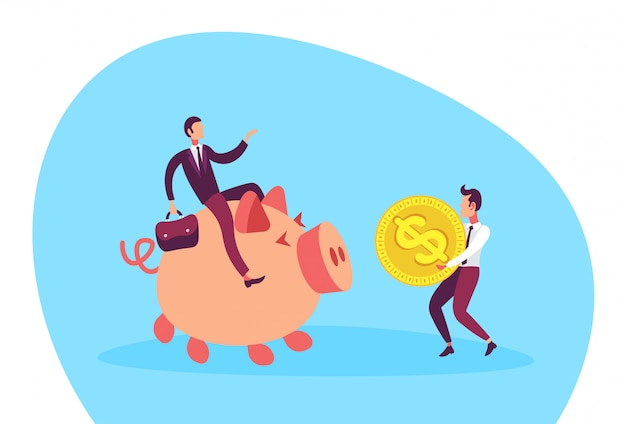 Illustration of a businessman sitting on piggy bank