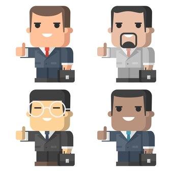 삽화, 사업가 미소와 엄지손가락을 보여주는 eps 10 형식