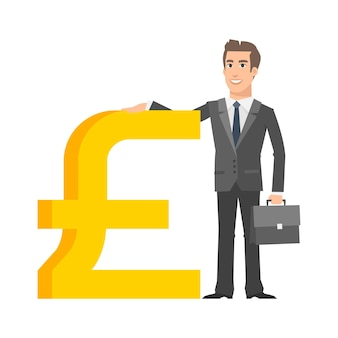 Illustration, businessman standing near with pound sterling sign, format eps 10