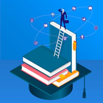 Illustration of businessman standing on pile of books