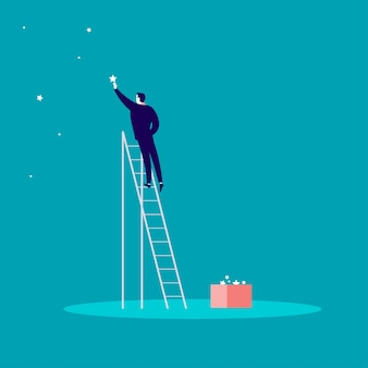 Illustration of businessman standing on stairs and reaching star on the sky
